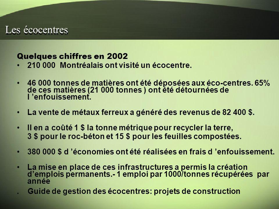 Quelques chiffres en 2002 210 000 Montréalais ont visité un écocentre.