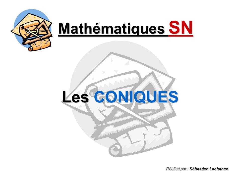 Mathématiques SN Les CONIQUES Réalisé par : Sébastien Lachance
