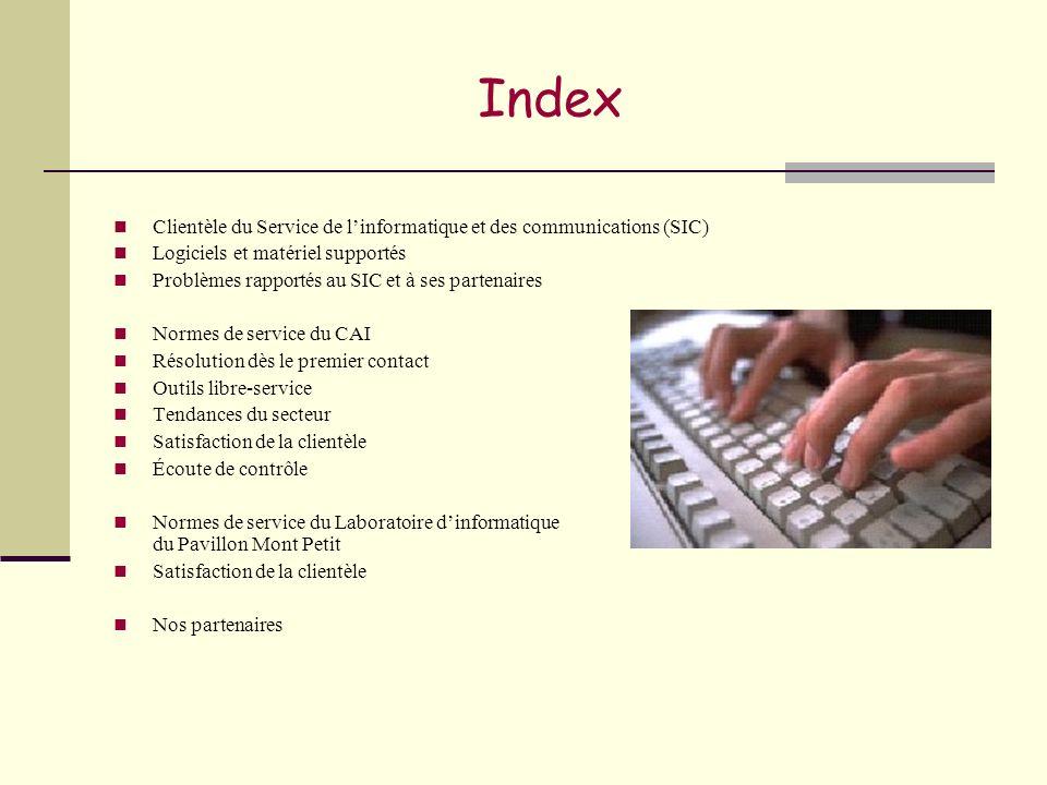 Index Clientèle du Service de linformatique et des communications (SIC) Logiciels et matériel supportés Problèmes rapportés au SIC et à ses partenaire