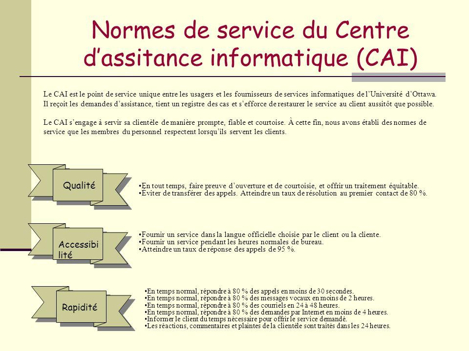 Normes de service du Centre dassitance informatique (CAI) En tout temps, faire preuve douverture et de courtoisie, et offrir un traitement équitable.