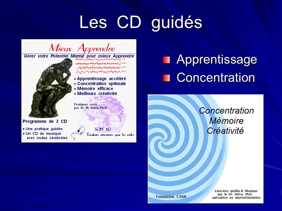 Les CD guidés Apprentissage Apprentissage Concentration Concentration