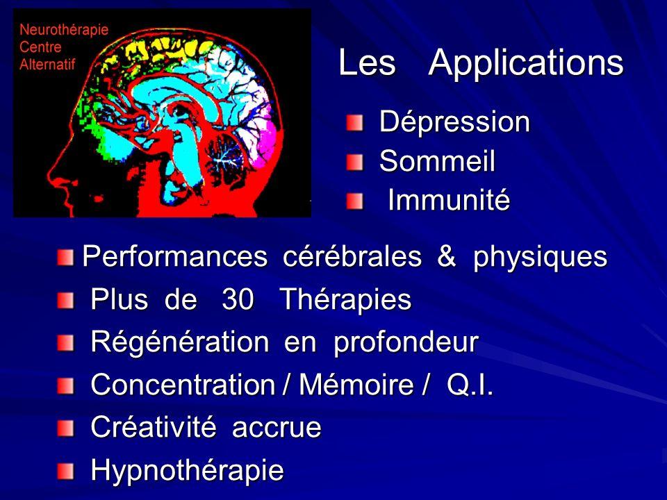 Les Applications Performances cérébrales & physiques Plus de 30 Thérapies Plus de 30 Thérapies Régénération en profondeur Régénération en profondeur Concentration / Mémoire / Q.I.