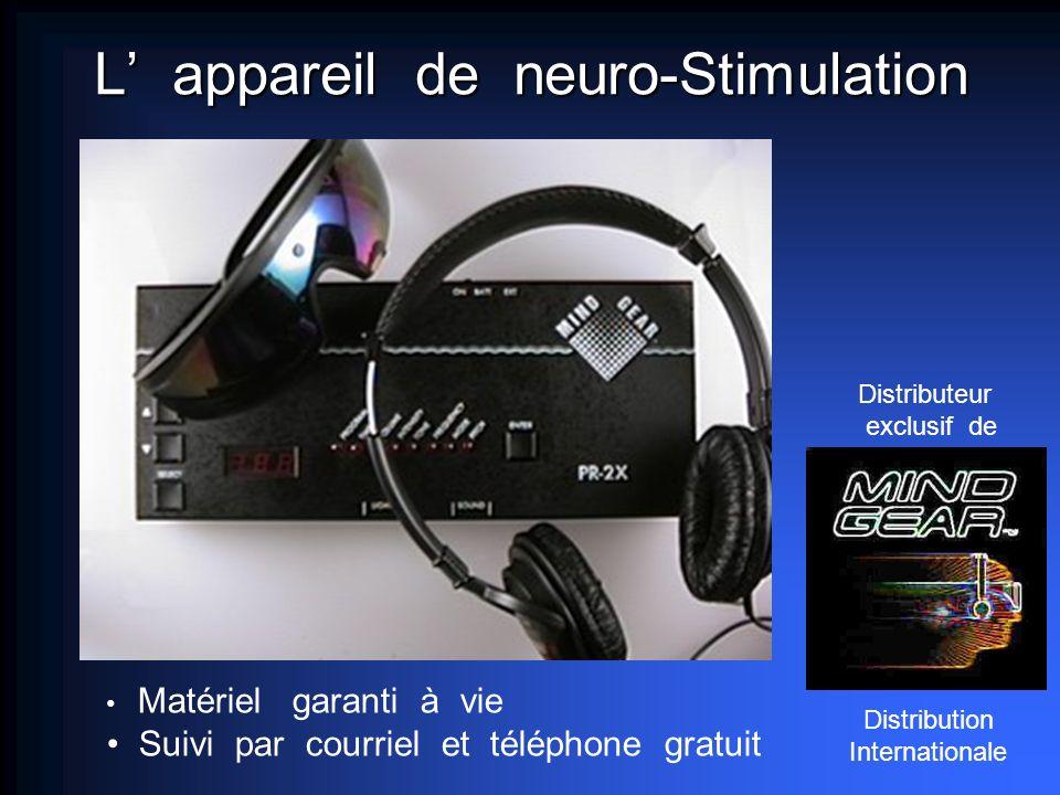L appareil de neuro-Stimulation Distributeur exclusif de Matériel garanti à vie Suivi par courriel et téléphone gratuit Distribution Internationale