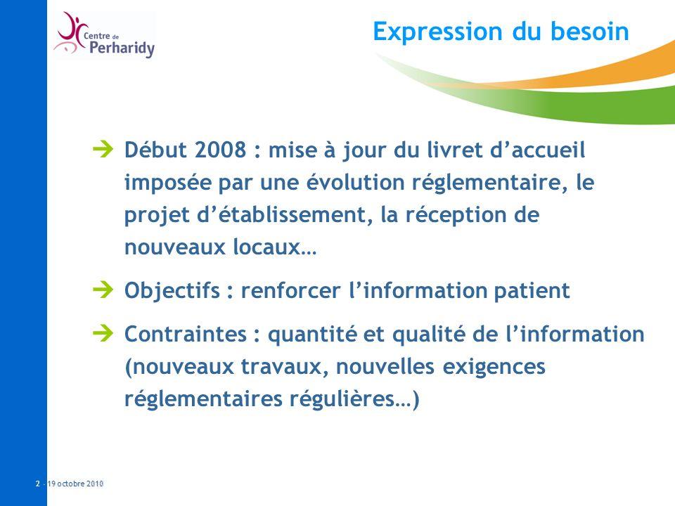 - 19 octobre 2010 2 - 19 octobre 2010 Expression du besoin Début 2008 : mise à jour du livret daccueil imposée par une évolution réglementaire, le pro