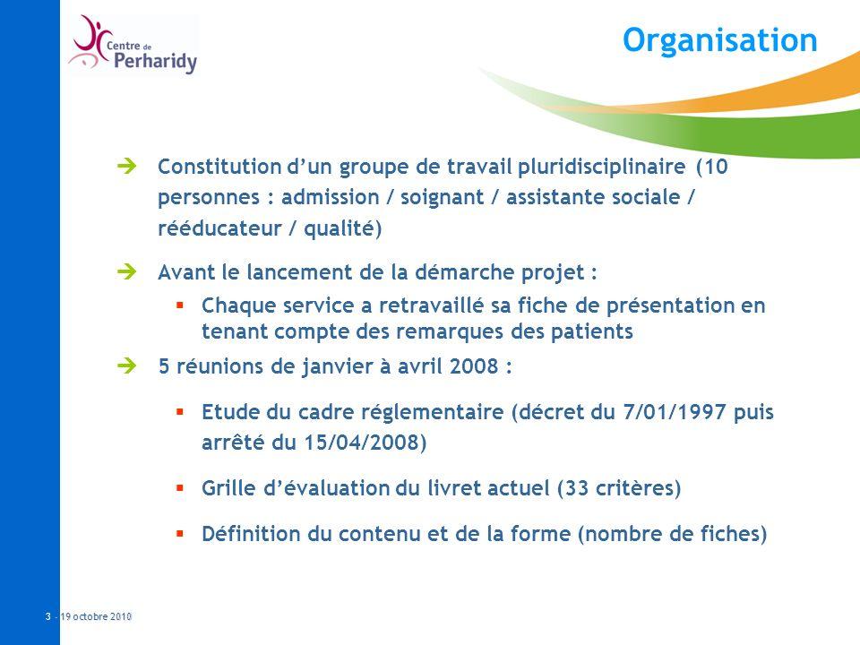 - 19 octobre 2010 3 - 19 octobre 2010 Organisation Constitution dun groupe de travail pluridisciplinaire (10 personnes : admission / soignant / assist