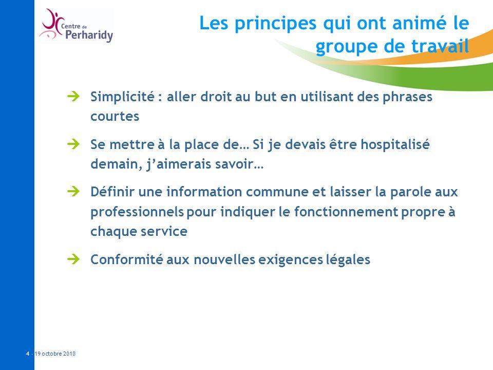 - 19 octobre 2010 4 - 19 octobre 2010 Les principes qui ont animé le groupe de travail Simplicité : aller droit au but en utilisant des phrases courte