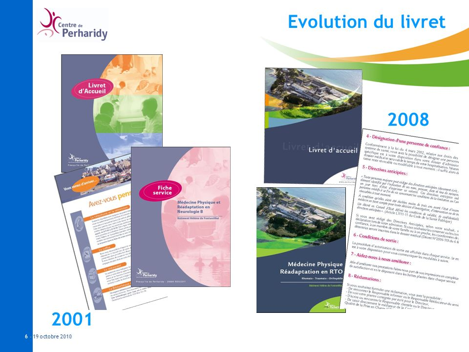 - 19 octobre 2010 6 - 19 octobre 2010 Evolution du livret 2001 2008