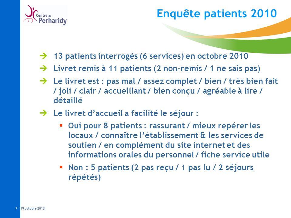- 19 octobre 2010 7 - 19 octobre 2010 Enquête patients 2010 13 patients interrogés (6 services) en octobre 2010 Livret remis à 11 patients (2 non-remi
