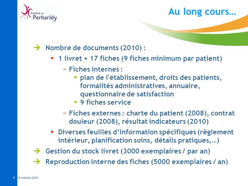 - 19 octobre 2010 9 - 19 octobre 2010 Au long cours… Nombre de documents (2010) : 1 livret + 17 fiches (9 fiches minimum par patient) Fiches internes