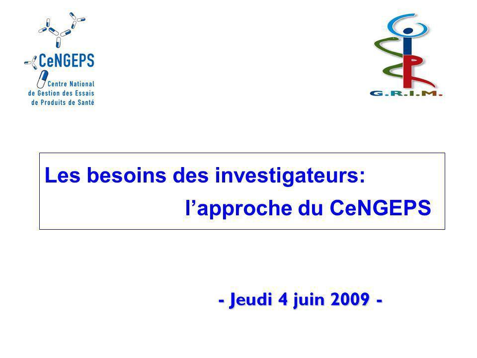 Centre national de gestion des essais de produits de santé Le CeNGEPS: une initiative pour renforcer lorganisation de la recherche clinique en France … 2008 Nombre moyen de patients recrutés par centre actif Europe 9,8 5,7 6,5 6,7 7,5 7,6 7,8 8,1 8,3 11,1 11,4 13,0 13,1 Etats-Unis Canada Australasie Moyen Or.