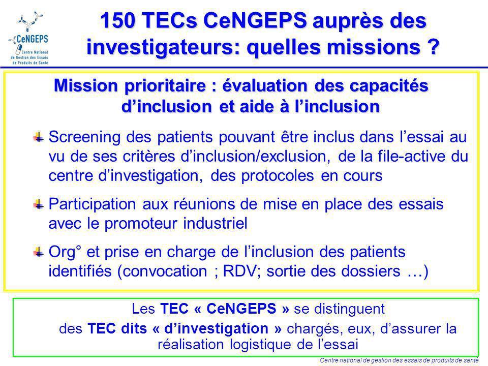Centre national de gestion des essais de produits de santé 150 TECs CeNGEPS auprès des investigateurs: des missions élargies .