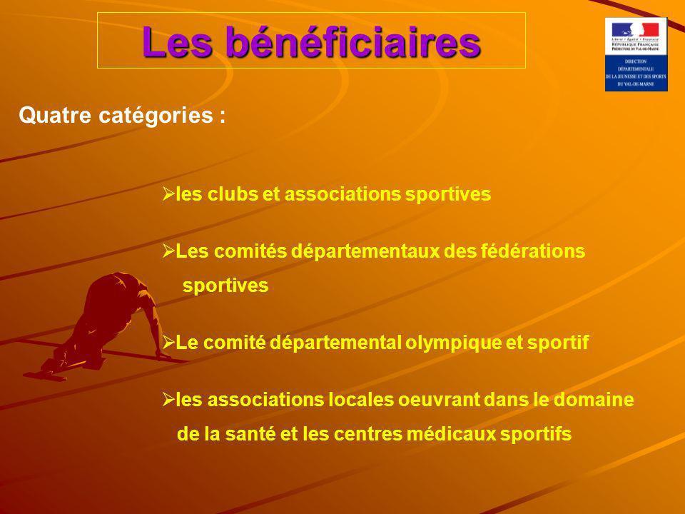 Les bénéficiaires les clubs et associations sportives Les comités départementaux des fédérations sportives Le comité départemental olympique et sportif les associations locales oeuvrant dans le domaine de la santé et les centres médicaux sportifs Quatre catégories :