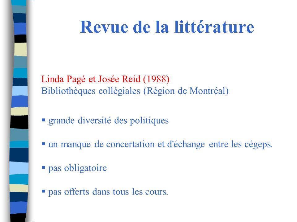 Revue de la littérature Linda Pagé et Josée Reid (1988) Bibliothèques collégiales (Région de Montréal) grande diversité des politiques un manque de concertation et d échange entre les cégeps.