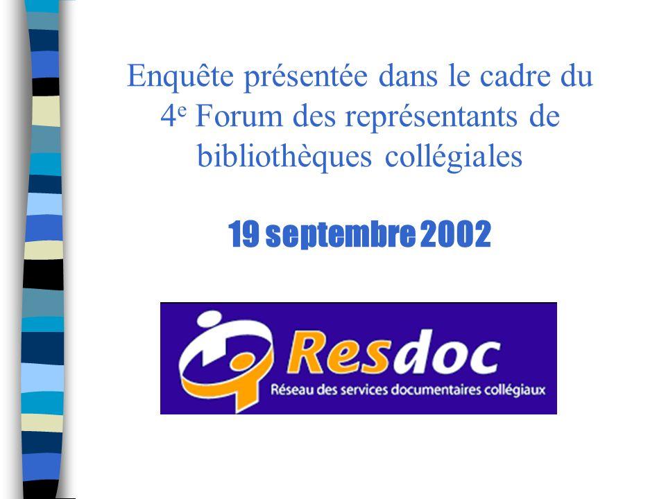 Enquête présentée dans le cadre du 4 e Forum des représentants de bibliothèques collégiales 19 septembre 2002