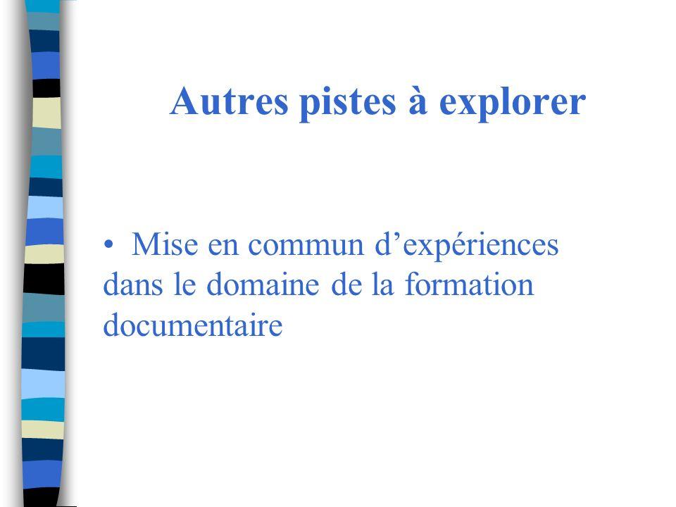 Autres pistes à explorer Mise en commun dexpériences dans le domaine de la formation documentaire
