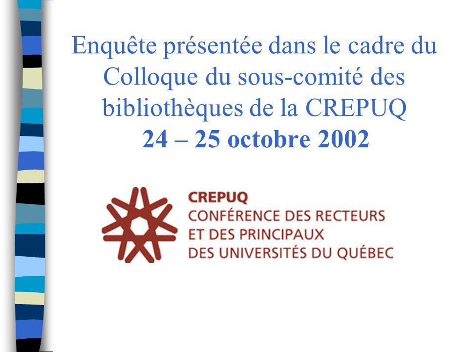 Enquête présentée dans le cadre du Colloque du sous-comité des bibliothèques de la CREPUQ 24 – 25 octobre 2002