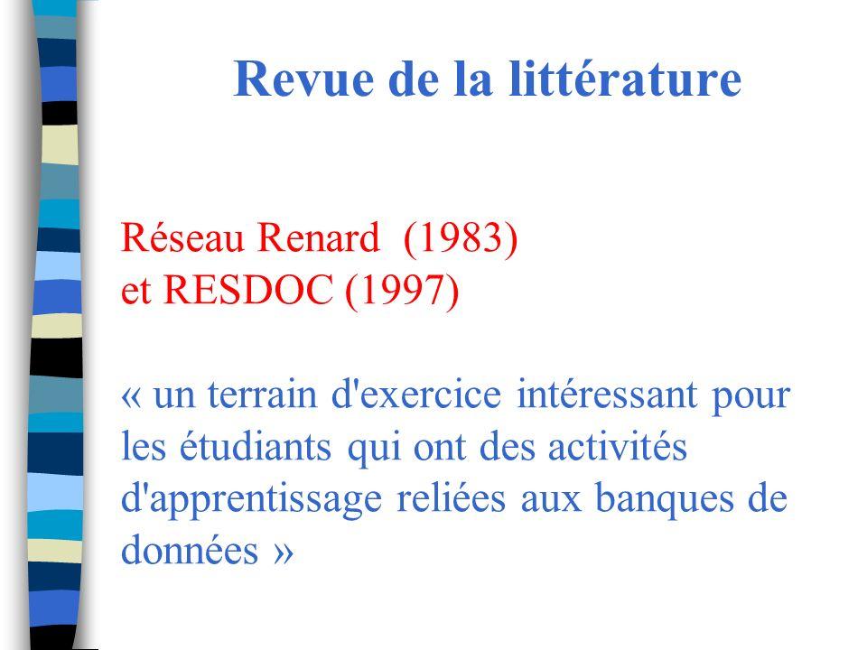 Revue de la littérature Réseau Renard (1983) et RESDOC (1997) « un terrain d exercice intéressant pour les étudiants qui ont des activités d apprentissage reliées aux banques de données »