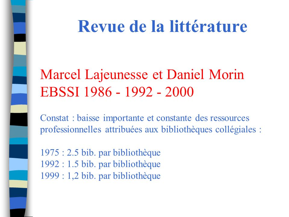 Revue de la littérature Marcel Lajeunesse et Daniel Morin EBSSI 1986 - 1992 - 2000 Constat : baisse importante et constante des ressources professionnelles attribuées aux bibliothèques collégiales : 1975 : 2.5 bib.
