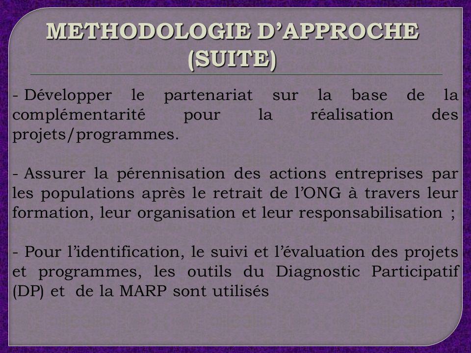 La méthodologie dapproche de lACD se fonde sur la participation effective et responsable des bénéficiaires dans un cadre de partenariat fécond. Cette
