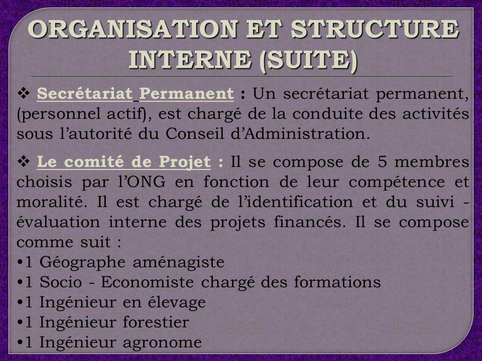 ORGANISATION ET STRUCTURE INTERNE LAssemblée Générale : Est lorgane suprême de lONG.