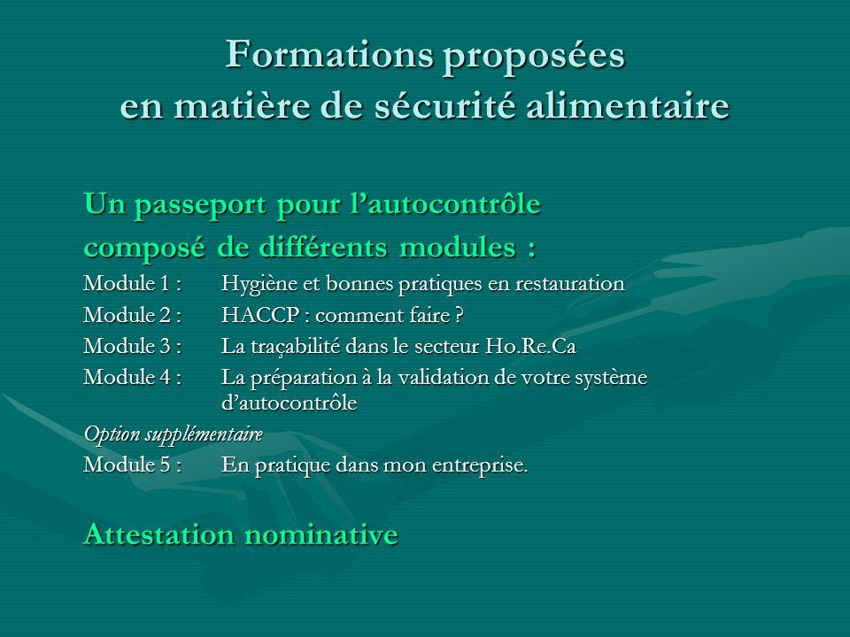 Formations proposées en matière de sécurité alimentaire Un passeport pour lautocontrôle composé de différents modules : Module 1 :Hygiène et bonnes pr