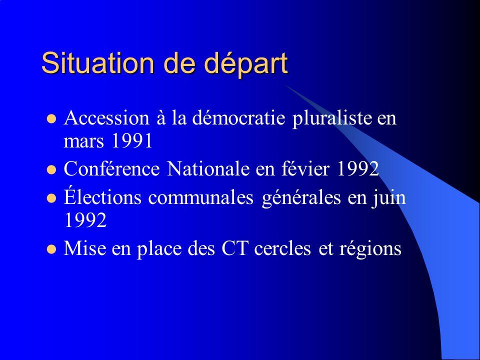 Situation de départ Accession à la démocratie pluraliste en mars 1991 Conférence Nationale en févier 1992 Élections communales générales en juin 1992 Mise en place des CT cercles et régions