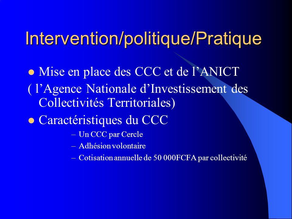Intervention/politique/Pratique Mise en place des CCC et de lANICT ( lAgence Nationale dInvestissement des Collectivités Territoriales) Caractéristiqu