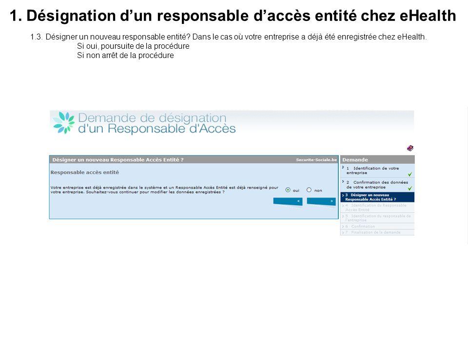 1.4.Identification du Responsable Accès Entité sur base de son numéro de registre national 1.