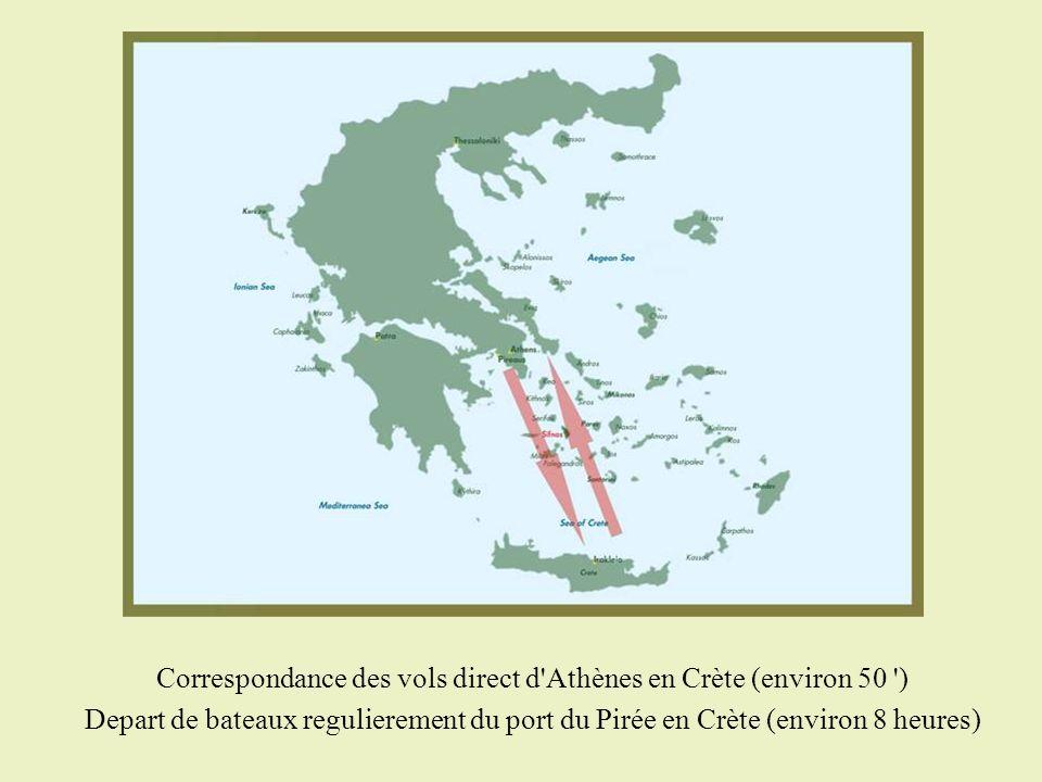 Correspondance des vols direct d'Athènes en Crète (environ 50 ') Depart de bateaux regulierement du port du Pirée en Crète (environ 8 heures)