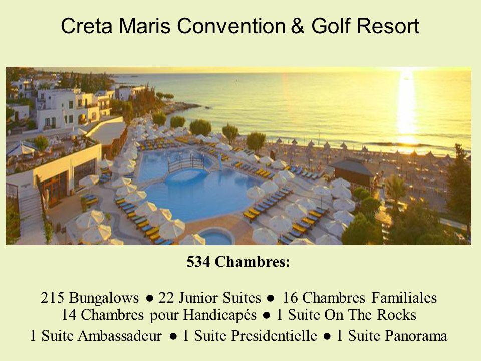 Creta Maris Convention & Golf Resort 534 Chambres: 215 Bungalows 22 Junior Suites 16 Chambres Familiales 14 Chambres pour Handicapés 1 Suite On The Rocks 1 Suite Ambassadeur 1 Suite Presidentielle 1 Suite Panorama