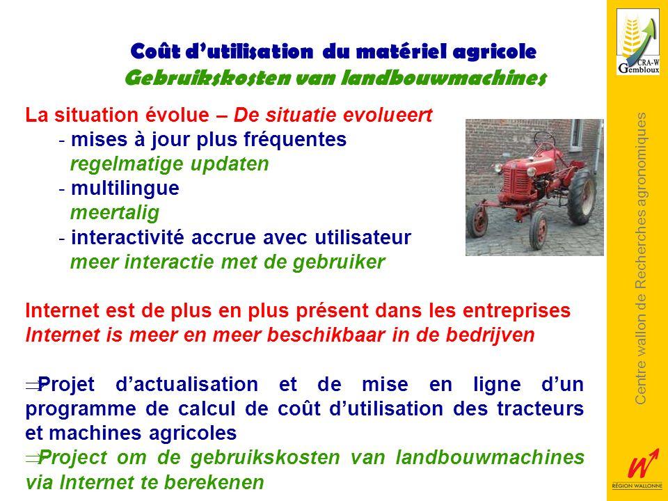 Centre wallon de Recherches agronomiques Coût dutilisation du matériel agricole Gebruikskosten van landbouwmachines La situation évolue – De situatie