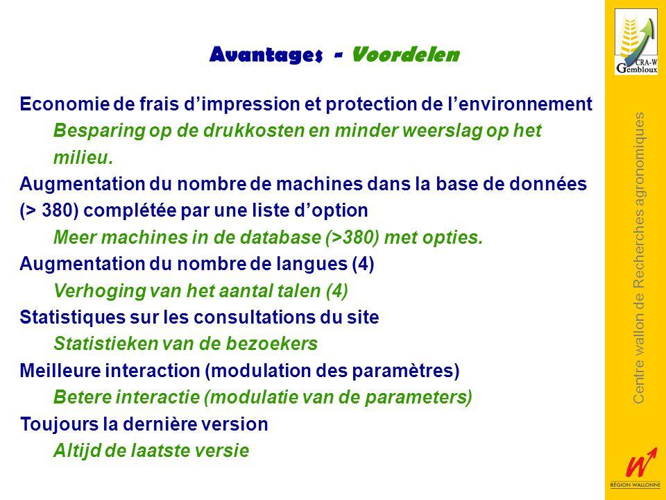 Centre wallon de Recherches agronomiques Avantages - Voordelen Economie de frais dimpression et protection de lenvironnement Besparing op de drukkoste
