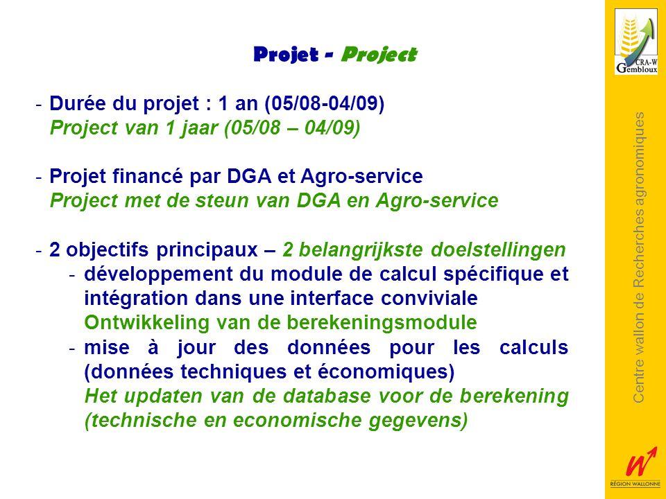 Centre wallon de Recherches agronomiques Projet - Project -Durée du projet : 1 an (05/08-04/09) Project van 1 jaar (05/08 – 04/09) -Projet financé par