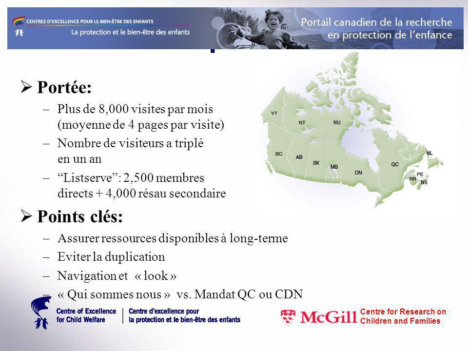 www.cecw-cepb.ca Portée: –Plus de 8,000 visites par mois (moyenne de 4 pages par visite) –Nombre de visiteurs a triplé en un an –Listserve: 2,500 memb