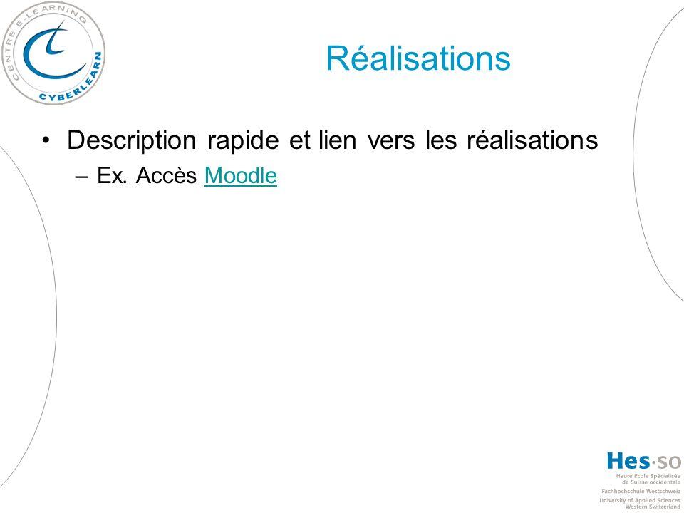 Réalisations Description rapide et lien vers les réalisations –Ex. Accès MoodleMoodle