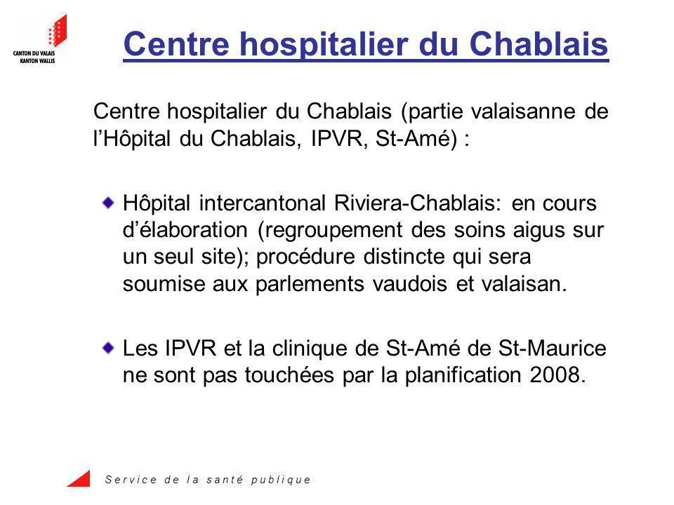 S e r v i c e d e l a s a n t é p u b l i q u e Centre hospitalier du Chablais Centre hospitalier du Chablais (partie valaisanne de lHôpital du Chablais, IPVR, St-Amé) : Hôpital intercantonal Riviera-Chablais: en cours délaboration (regroupement des soins aigus sur un seul site); procédure distincte qui sera soumise aux parlements vaudois et valaisan.
