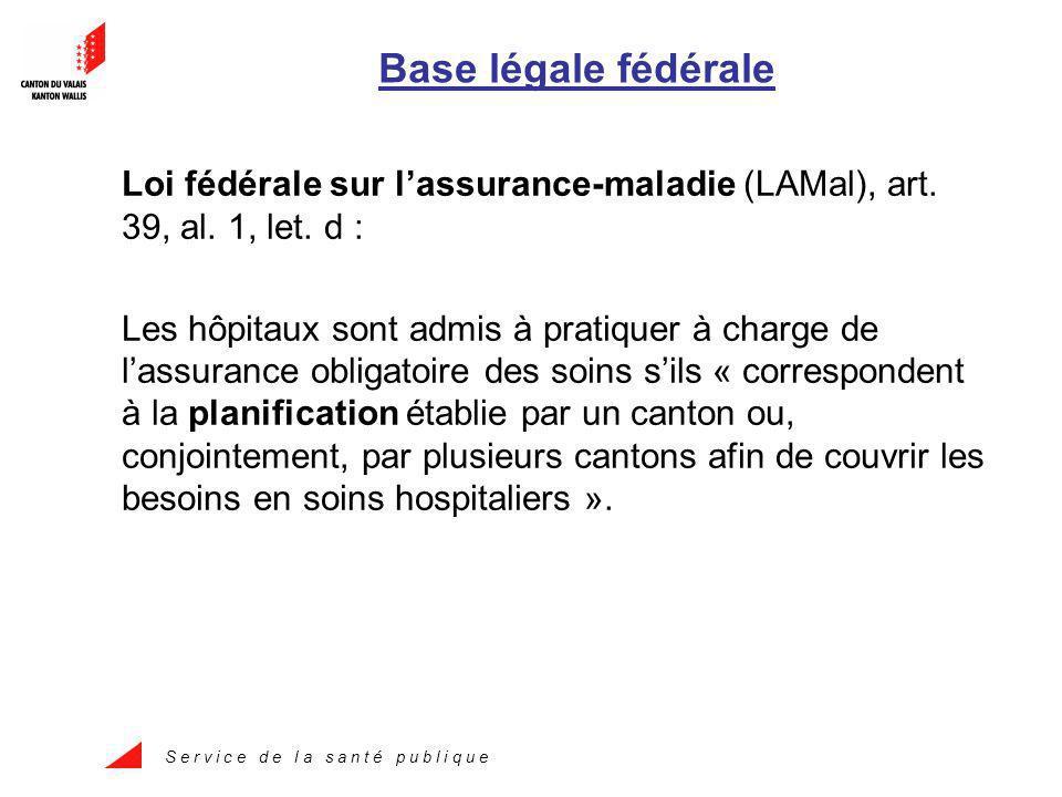 S e r v i c e d e l a s a n t é p u b l i q u e Base légale fédérale Loi fédérale sur lassurance-maladie (LAMal), art.
