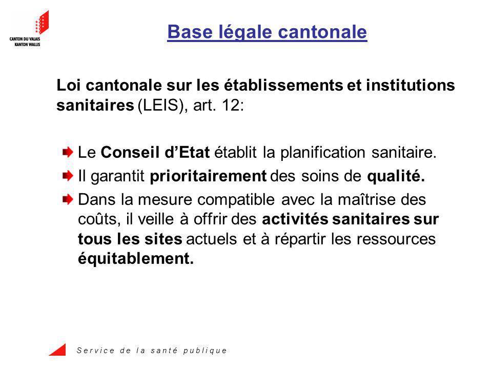 S e r v i c e d e l a s a n t é p u b l i q u e Base légale cantonale Loi cantonale sur les établissements et institutions sanitaires (LEIS), art.