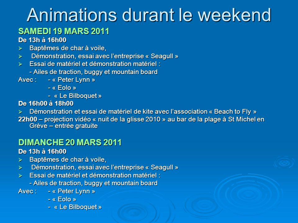 Animations durant le weekend SAMEDI 19 MARS 2011 De 13h à 16h00 Baptêmes de char à voile, Baptêmes de char à voile, Démonstration, essai avec lentrepr