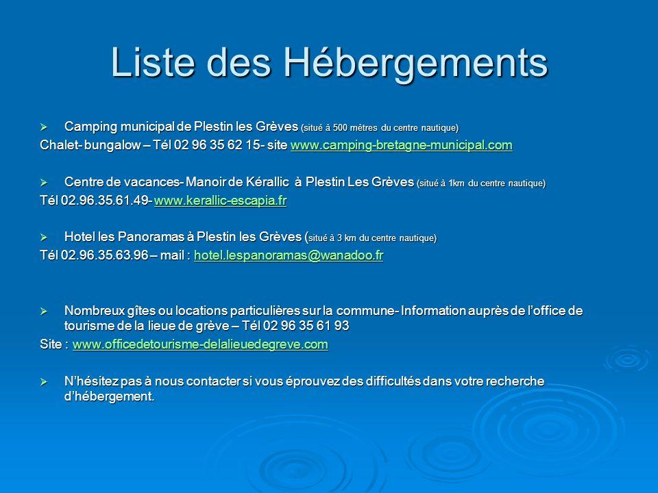 Liste des Hébergements Camping municipal de Plestin les Grèves (situé à 500 mètres du centre nautique) Camping municipal de Plestin les Grèves (situé