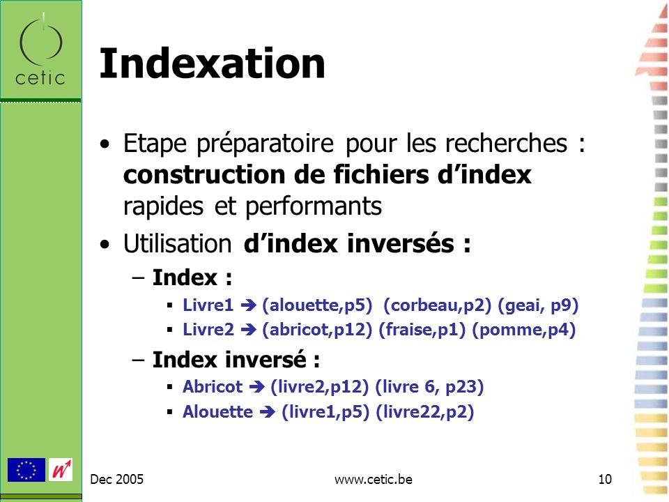 Dec 2005www.cetic.be10 Indexation Etape préparatoire pour les recherches : construction de fichiers dindex rapides et performants Utilisation dindex i