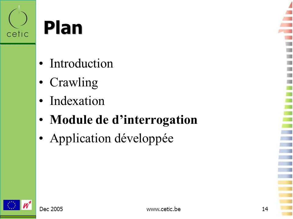 Dec 2005www.cetic.be14 Plan Introduction Crawling Indexation Module de dinterrogation Application développée