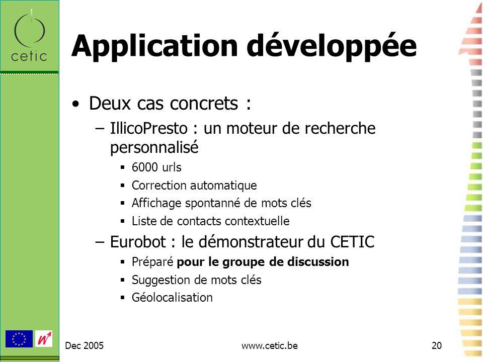Dec 2005www.cetic.be20 Application développée Deux cas concrets : –IllicoPresto : un moteur de recherche personnalisé 6000 urls Correction automatique