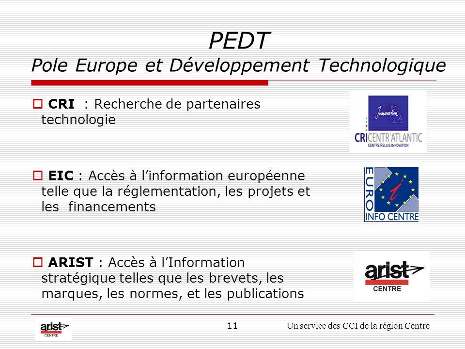 11Un service des CCI de la région Centre PEDT Pole Europe et Développement Technologique CRI : Recherche de partenaires technologie EIC : Accès à linformation européenne telle que la réglementation, les projets et les financements ARIST : Accès à lInformation stratégique telles que les brevets, les marques, les normes, et les publications