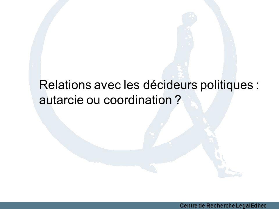 Centre de Recherche LegalEdhec Relations avec les décideurs politiques : autarcie ou coordination ?