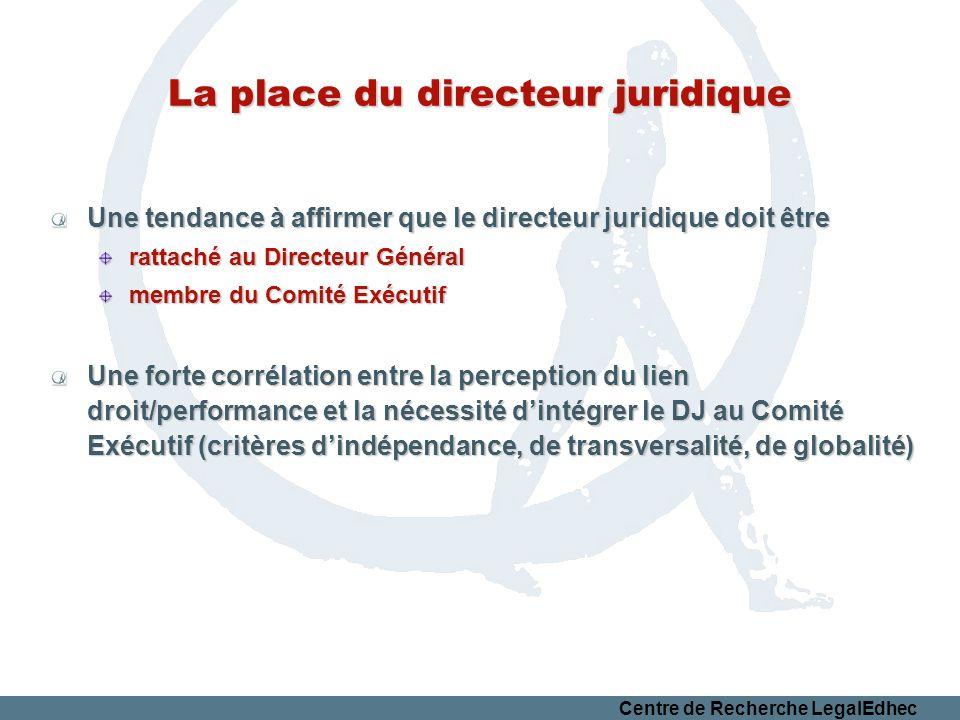 Centre de Recherche LegalEdhec La place du directeur juridique Une tendance à affirmer que le directeur juridique doit être rattaché au Directeur Géné