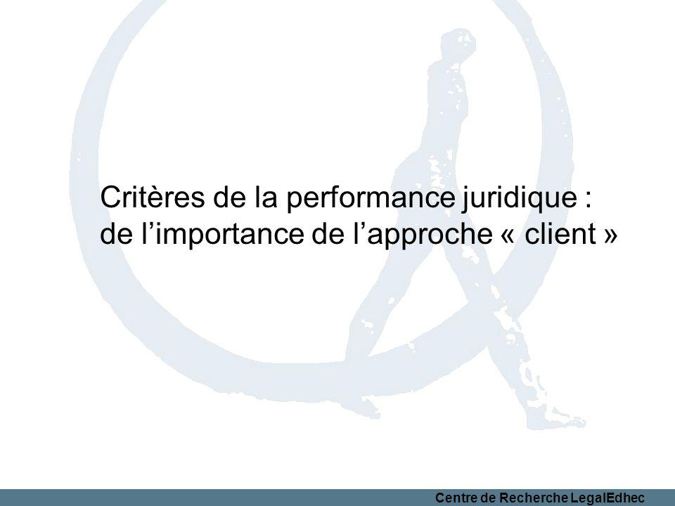 Centre de Recherche LegalEdhec Critères de la performance juridique : de limportance de lapproche « client »