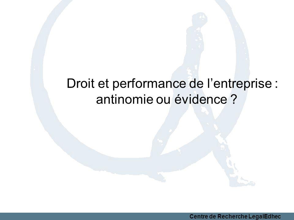 Centre de Recherche LegalEdhec Droit et performance de lentreprise : antinomie ou évidence ?