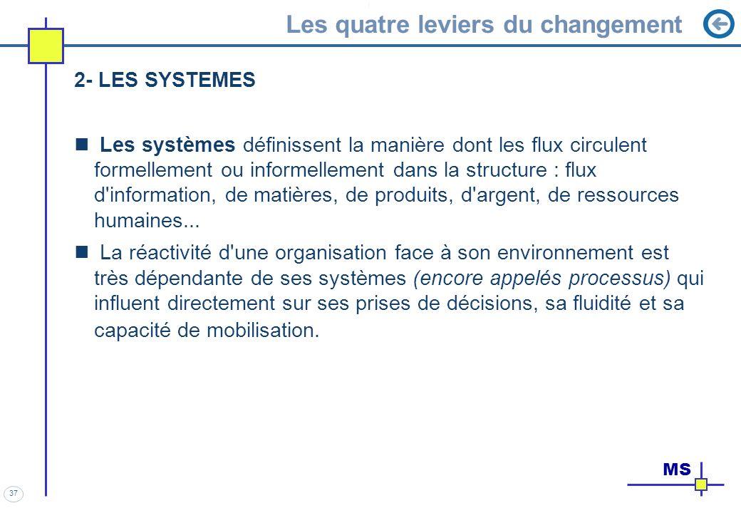 37 Les quatre leviers du changement 2- LES SYSTEMES Les systèmes définissent la manière dont les flux circulent formellement ou informellement dans la