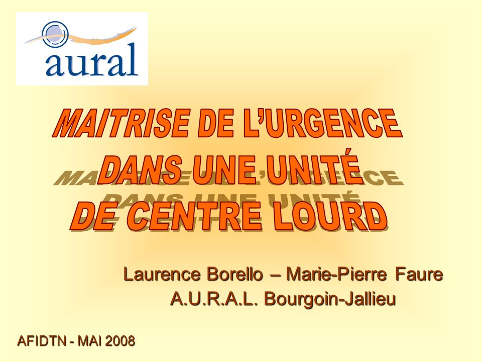 Laurence Borello – Marie-Pierre Faure A.U.R.A.L. Bourgoin-Jallieu AFIDTN - MAI 2008